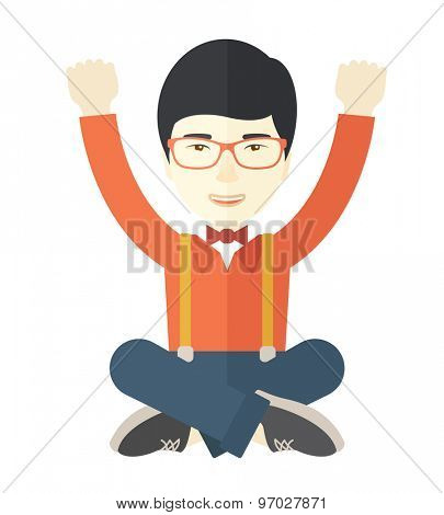 A young chinese guy is happy raising his two hands. Successful concept. A contemporary style. Vector flat design illustration with isolated white background. Square layout.