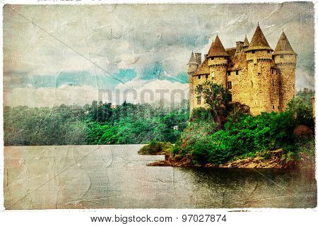 Chateau de Val - castle on lake, artistic picture