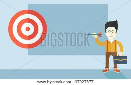 A working chinese man with strategy on how to get his target market sales higher. Market strategy concept. A Contemporary style with pastel palette, soft blue tinted background. Vector flat design