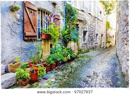 beautiful old villages of Provence, artwork in painting style