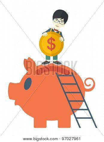 A young asian guy saving his money by putting a coin in big piggy bank using a ladder. Saving concept. A Contemporary style. Vector flat design illustration isolated white background. Vertical layout.