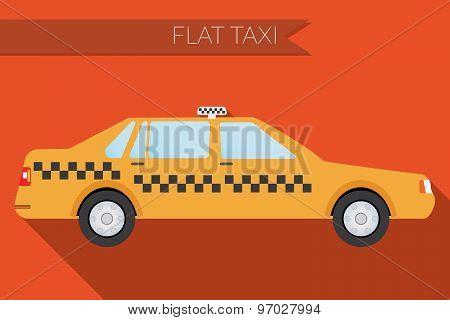 Flat Design Vector Illustration City Transportation, City Taxi, Side View