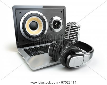 Digital audio or music software concept. Laptop, microphone and loudspeakers. 3d