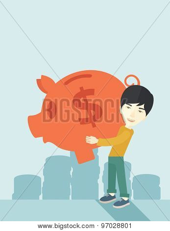 A chinese Businessman carries on his two arms his big piggy bank for economy purposes saving money is very important. Investment concept. A contemporary style with pastel palette soft blue tinted