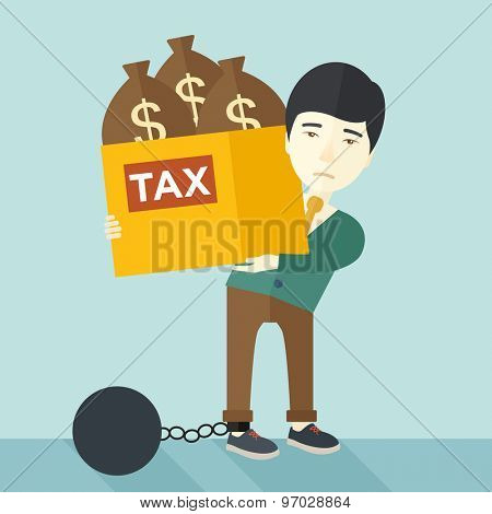 A chinese businessman locked in a debt ball in chain for committing crime in tax evasion. Debt concept. A Contemporary style with pastel palette, soft blue tinted background. Vector flat design