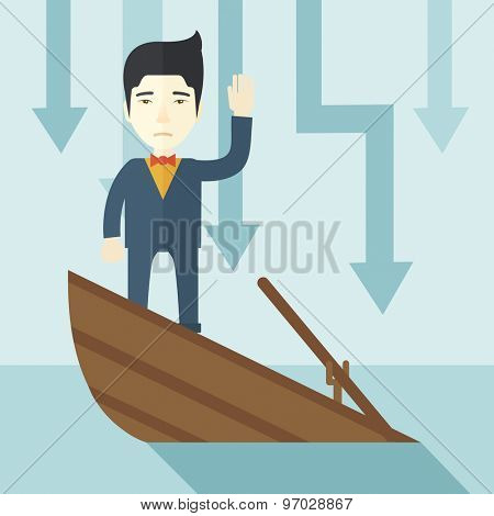 A failure chinese businessman standing on a sinking boat with those arrows on his back pointing down symbolize that his business is loosing. He needs help. Bankruptcy concept. A contemporary style
