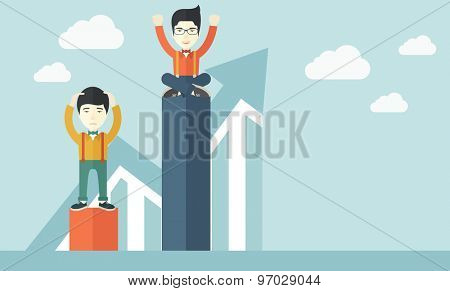 A two chinese businessmen. Man on top is happy while sitting and man in bottom is sad while standing. Rivalry concept. A contemporary style with pastel palette soft blue tinted background with