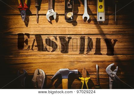 The word easy diy against desk with tools