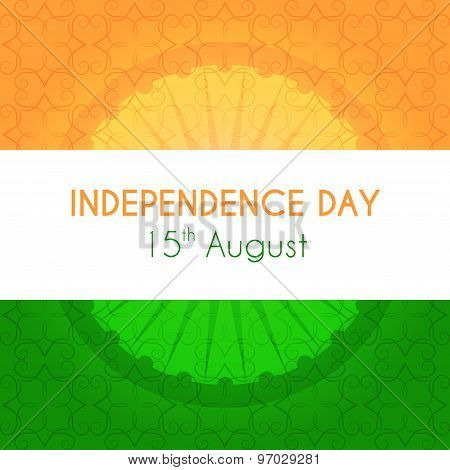 Indian independence day greeting card with national tricolor and ornament on background