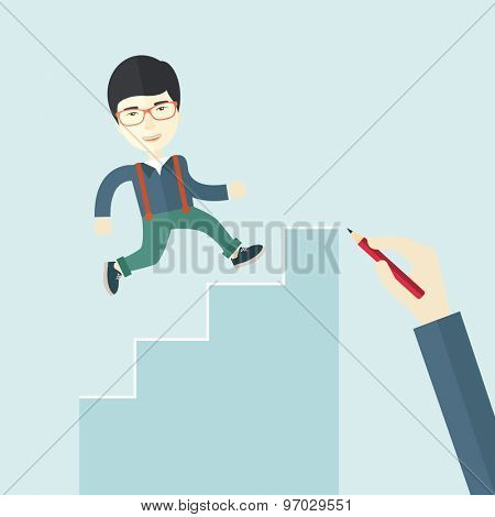 A hand with red pen drawn a chinese businessman climbing up the stairs, a concept of success and career. A contemporary style with pastel palette soft blue tinted background. Vector flat design