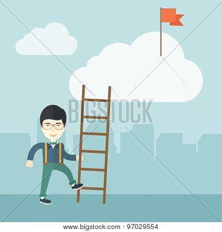 A japanese man standing while holding the career ladder to get the red flag in the cloud. Career, success concept.  A contemporary style with pastel palette soft blue tinted background with