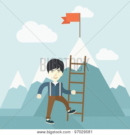 A chinese businessman standing while holding the career ladder getting the red flag a step to reach his goal to be a successful businessman. Leadership concept. A contemporary style with pastel