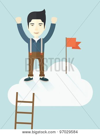 An asian businessman climbed using the ladder and standing on the top of the cloud with red flag. Leadership concept. .  A contemporary style with pastel palette soft blue tinted background with