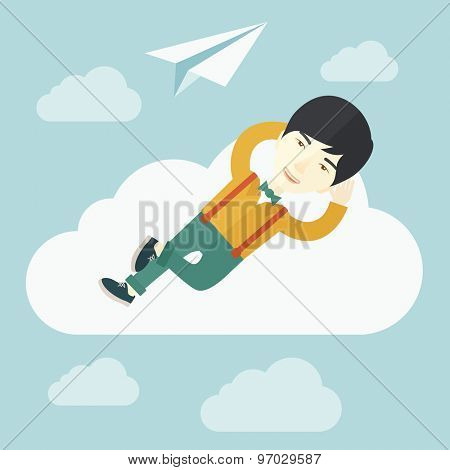 An asian man is relaxing while lying on a cloud with paper plane. A contemporary style with pastel palette soft blue tinted background with desaturated clouds. Vector flat design illustration. Square