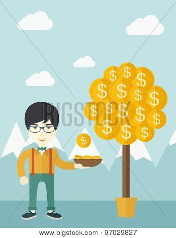 A successful chinese businessman standing while catching a dollar coin from money tree. Business growth concept. A contemporary style with pastel palette soft blue tinted background with desaturated
