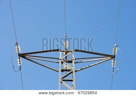 Power line in Zaragoza province, Aragon, Spain.