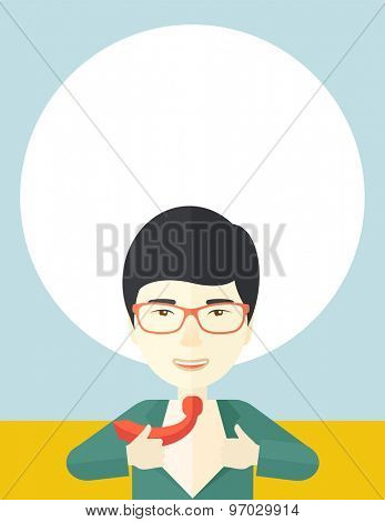 A happy working chinese man want to change his clothes as to change his position in the company. Successful concept. A Contemporary style with pastel palette, soft blue tinted background. Vector flat