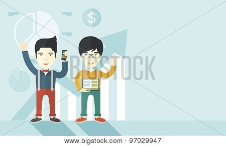 A two cheerful asian businessmen with arms up high enjoying their success shown in the graph at their back. A contemporary style with pastel palette soft blue tinted background. Vector flat design