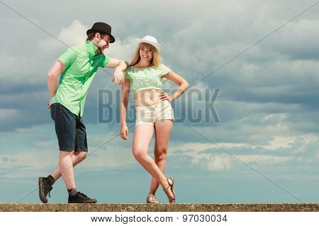 Hipster Couple In Love Playing Flirting Outdoor