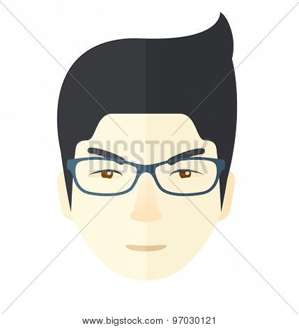 A face of angry man with his beard and very mad eyes. A Contemporary style. Vector flat design illustration isolated white background. Square layout.