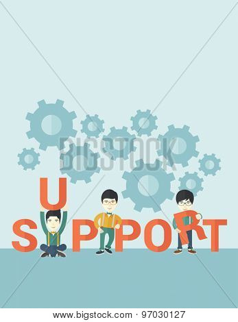 Three chinese businessmen holding a letter, it is a support message they need help from others. Teamwork concept. A contemporary style with pastel palette soft blue tinted background. Vector flat