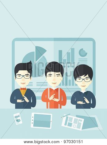 Three asian men speakers clapping their hands for a successful business financial presentation with tablet, smartphone and a paper as their guide. Teamwork concept. A contemporary style with pastel