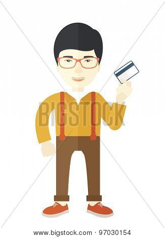 A happy japanese businessman thankfully standing holding his credit card. Fulfillment concept. A Contemporary style. Vector flat design illustration isolated white background. Vertical layout.