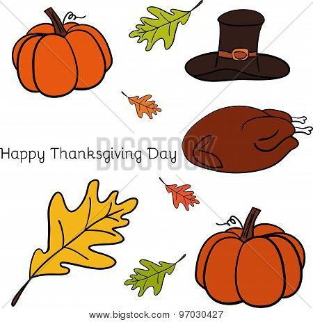 Vector illustration of Thanksgiving icons