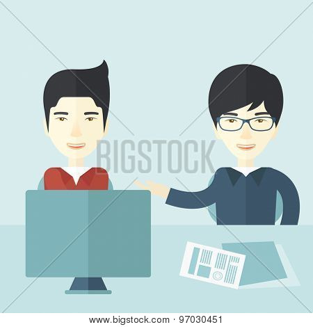 The two young asian businessmen are talking about the marketing proposal with laptop a paper contract to be sign in the meeting room. Business partnership concept. A contemporary style with pastel