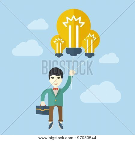 An asian businessman carrying a briefcase with bulb as balloon to take him fly high. Happy and success concept. A contemporary style with pastel palette soft blue tinted background with desaturated