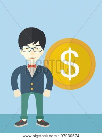 A happy chinese businessman standing with a big dollar coin beside him as a sign of his success in business. Business growth concept.  A Contemporary style with pastel palette, soft blue tinted