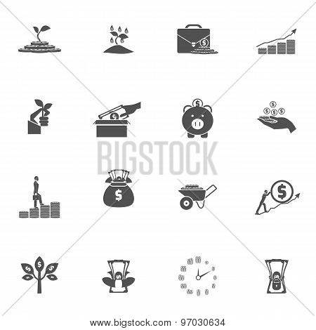 Investment Silhouette Icon Set