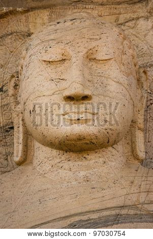 Closeup of meditating Buddha statue at Gal vihare Polonnaruwa Sri Lanka