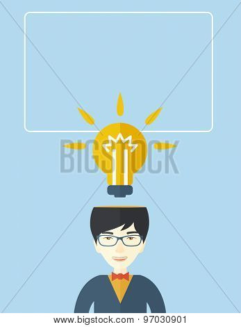 A chinese businessman has a bright idea for marketing strategy with a bulb on his head. Human intelligence concept. A contemporary style with pastel palette soft blue tinted background. Vector flat