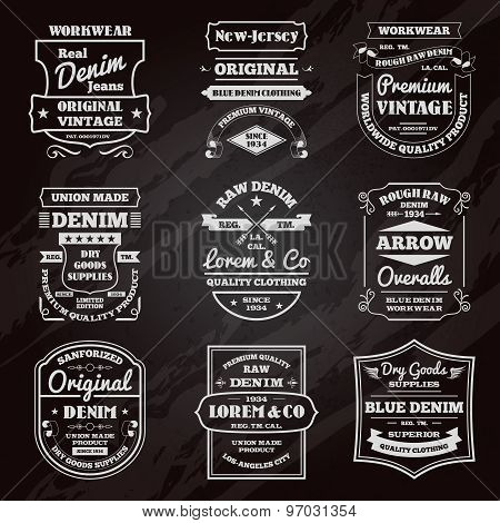 Denim typography chalkboard emblems set