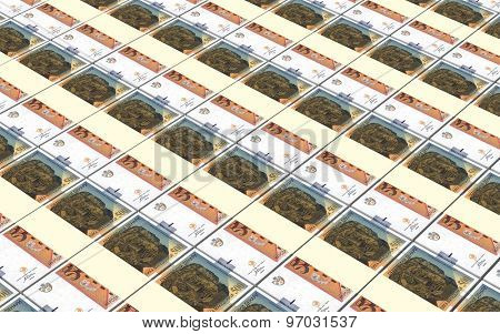 Macedonian denar bills stacks background.
