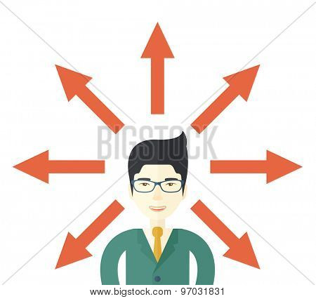 A japanese businessman being confused with too many directions, presenting with arrows, to make decision. A Contemporary style. Vector flat design illustration isolated white background. Square layout