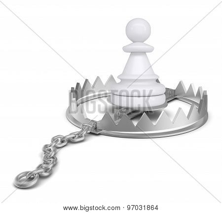Chess piece in bear trap