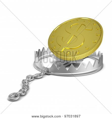 Dollar coin in bear trap
