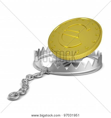 Euro coin in bear trap