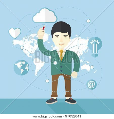 A chinese businessman holding a pen making his presentation on glass board to be represent to his co worker. Teamleader concept.  A Contemporary style with pastel palette, soft blue tinted background