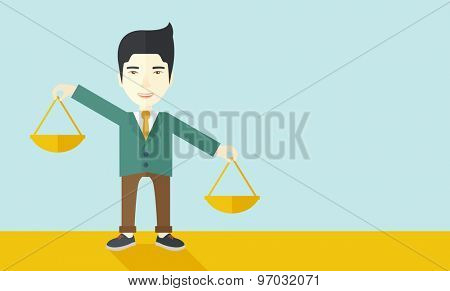 A japanese guy holding a Weighing scale inclined to the other side. Balancing concept. A Contemporary style with pastel palette, soft blue tinted background. Vector flat design illustration