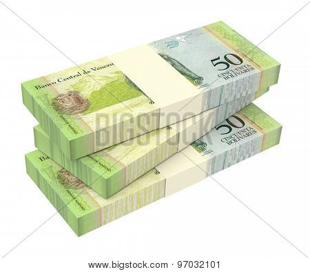 Venezuelan Bolivares isolated on white background. Computer generated 3D photo rendering.