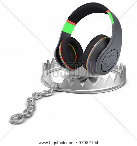 Headphones in bear trap