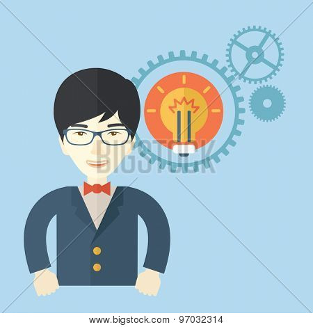 A chinese company officer with gear have a strong marketing strategy to share in company. Leadership concept.  A Contemporary style with pastel palette, soft blue tinted background. Vector flat design