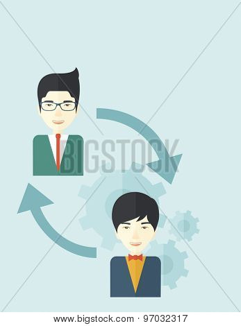 Two asian men in exchanging ideas. Partnership concept. A contemporary style with pastel palette soft blue tinted background. Vector flat design illustration. Vertical layout with text space on top