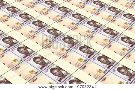 Nigerian nairas bills stacks background.