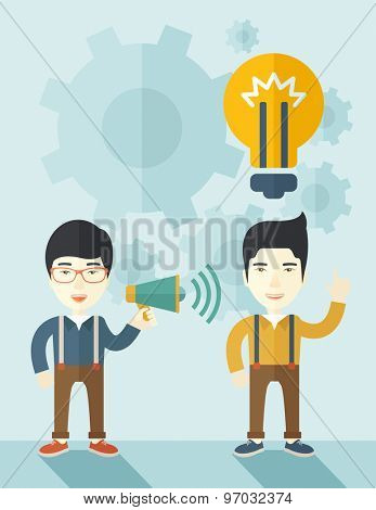 A two japanese guys with megaphone and bulb that shows of having a business plan together. Teamwork concept. A contemporary style with pastel palette soft blue tinted background. Vector flat design
