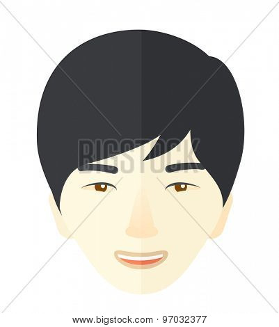 A proud happy young guy. A Contemporary style. Vector flat design illustration isolated white background. Square layout