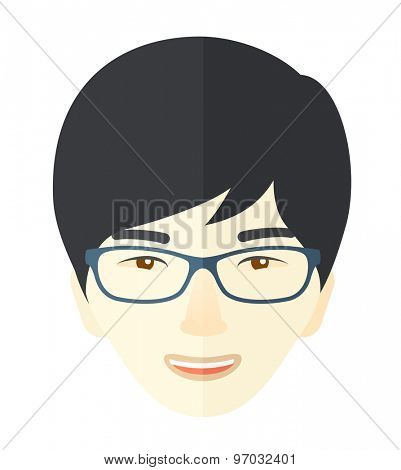 A joyful japanese boy face wearing eyeglasses. A Contemporary style. Vector flat design illustration isolated white background. Square layout